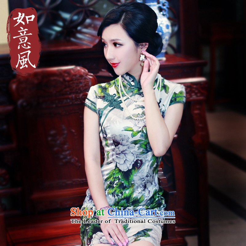 After a day of summer 2015 wind qipao new improved Silk Cheongsam antique dresses Sau San video thin 5439 Tachometer 5439 Tachometer suit?S