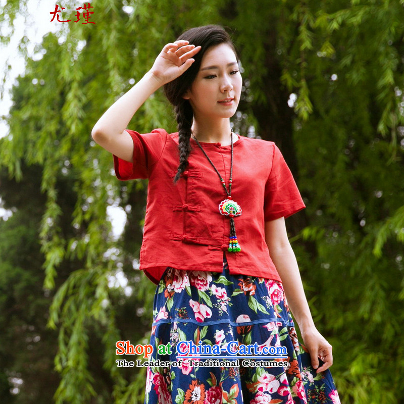 In particular ethnic 2015 Keun-young Women's Summer cotton linen Chinese clothing retro small clothes improved Tang dynasty short plate fasteners shirt RED?M