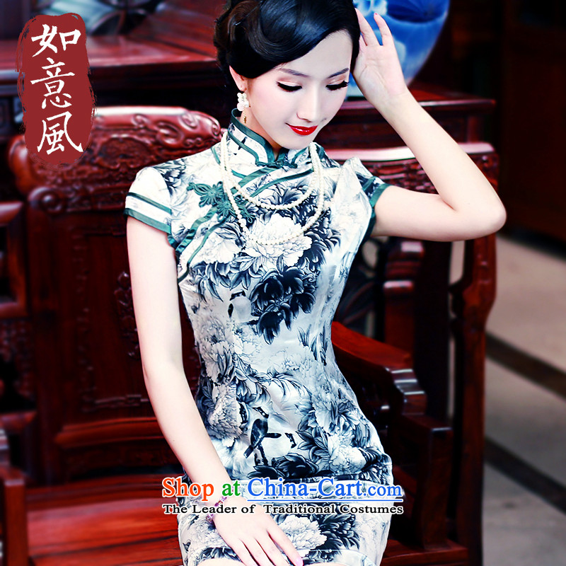 After a new summer 2015 wind temperament stamp silk short-sleeved dresses high-end improved qipao 5432 5432 suit?XXL