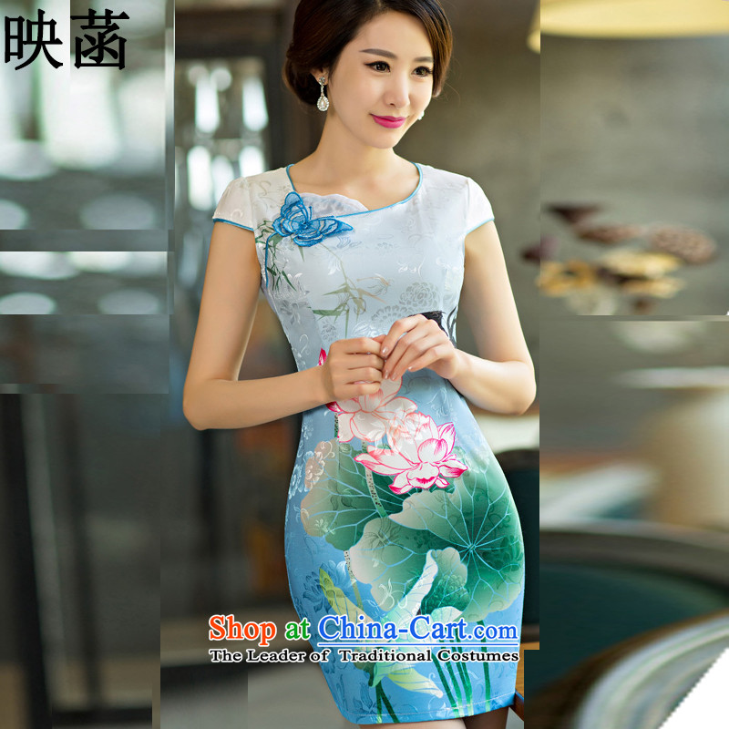 According to the new image 2015 summer attire qipao lotus figure gradient style qipao 3,009 Blue?L
