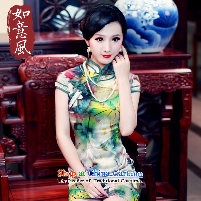 After 2015 Summer wind new Stylish retro short-sleeved sauna Silk Cheongsam Silk Cheongsam 5434 5434 suits women燲L