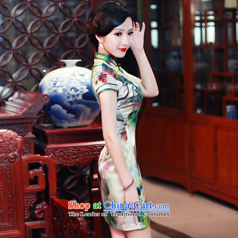 After 2015 Summer wind new Stylish retro short-sleeved sauna Silk Cheongsam Silk Cheongsam 5434 5434 suits women聽after the wind has been pressed XL, online shopping
