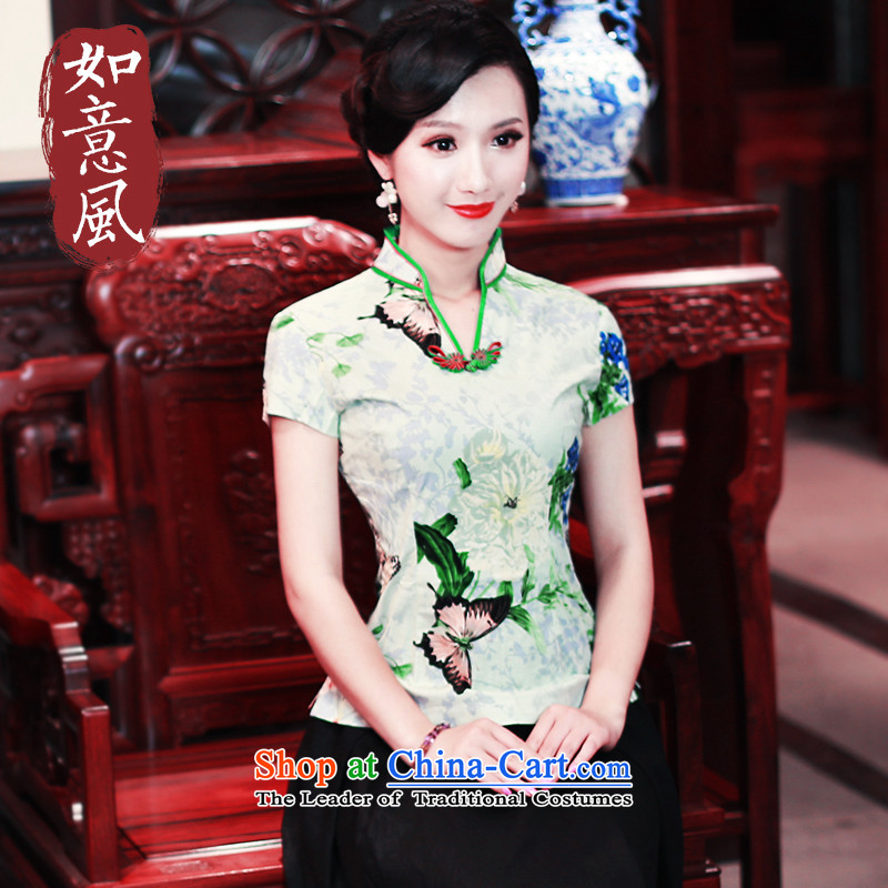 After a new wind for women cotton shirt qipao Chinese Han-tang T-shirts and T-shirt ethnic 3006 3006 Green S