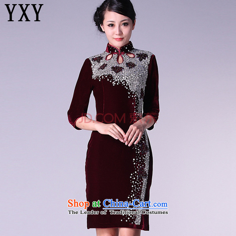 In line cloud Kim scouring pads cheongsam dress marriage banquet dress code of 7 to increase the mother bows to female燗QE813 cuff燘OURDEAUX燲XXL cuff.