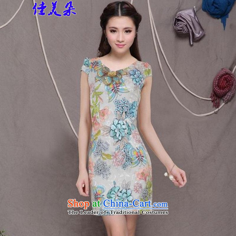 Jia Mei� 2015 flower embroidery qipao new stylish ethnic Chinese cheongsam dress retro graphics thin cheongsam 6076_ Sau San apricot color has been shipping燬