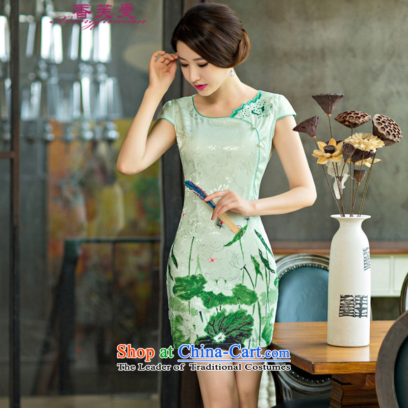 The Champs Elysees to Cayman�     2015 Summer improved female cheongsam dress retro-day short of Sau San qipao gown _9004 green燣