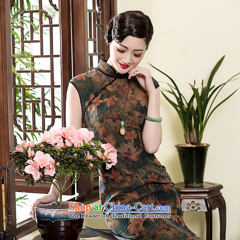 2015 Summer long, Yue seal Silk Cheongsam retro cloud of incense of Tang Dynasty improved daily cheongsam dress photo color?M