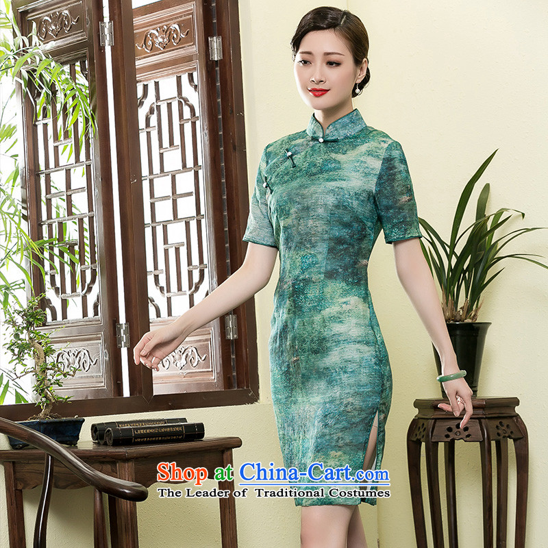 The Seal of 2015 Summer Art Nouveau style qipao new stamp pure linen short of qipao ethnic Chinese skirts green燬