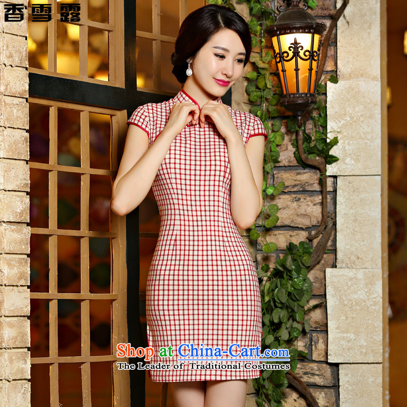 Xiangxue terrace for爏ummer 2015 new stylish art nouveau improved Ms. latticed summer cheongsam dress short of female�05燫ed燬