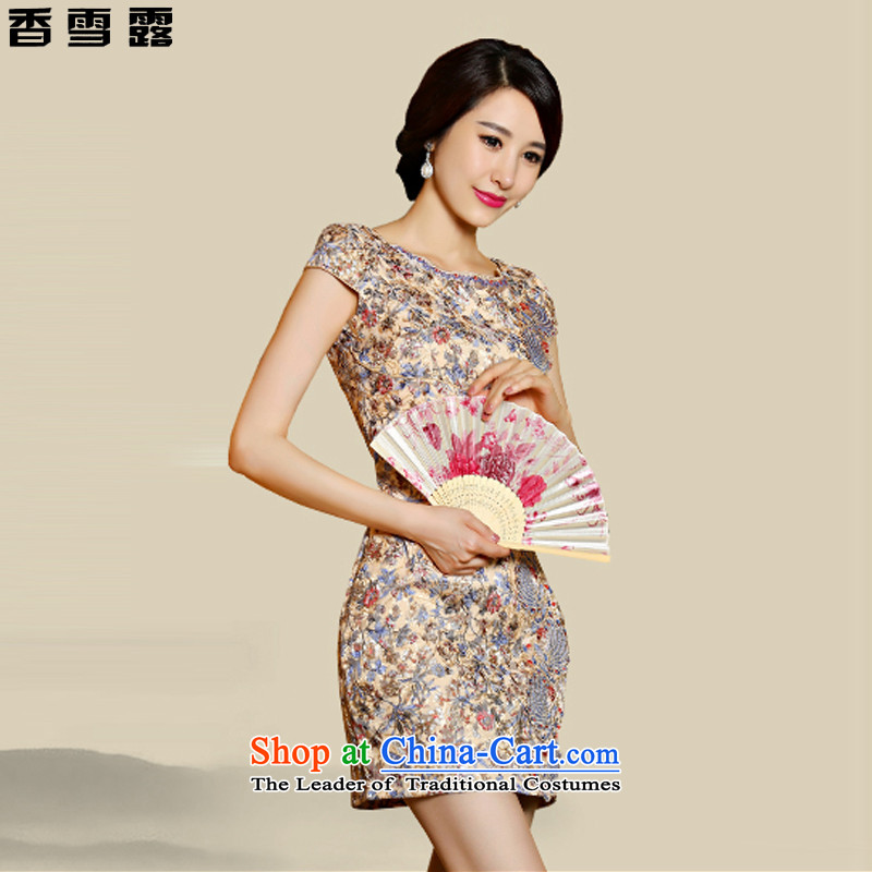 Xiangxue terrace for?summer 2015 new cheongsam dress lace daily Sau San video thin skirt Fashion improved short qipao?9018?suit?XXL