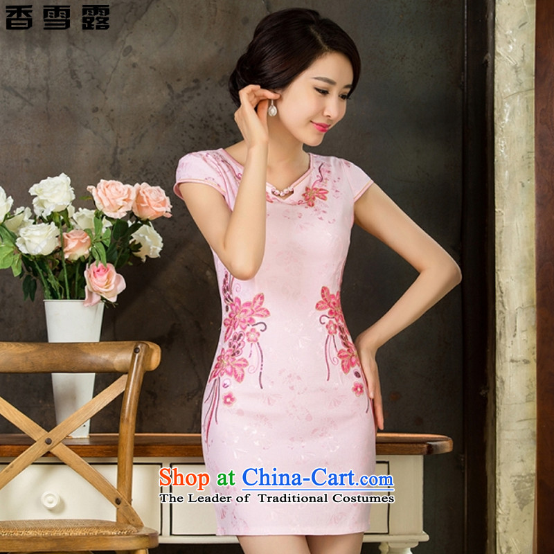 Xiangxue terrace for爏ummer 2015 new short of daily Chinese improved dresses female Sau San temperament embroidery porcelain�9025爎ed燣