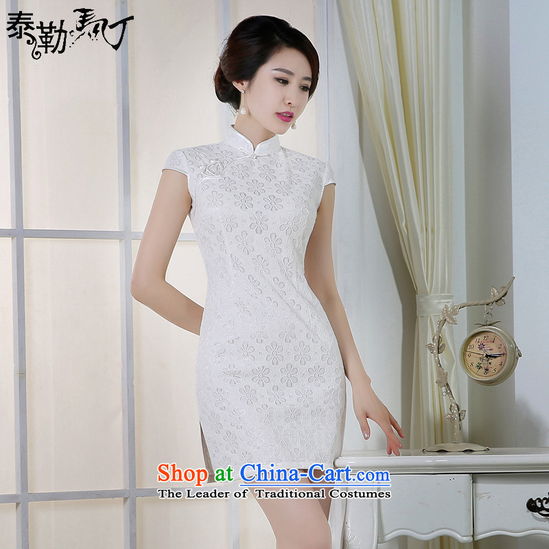 Taylor Martin 2015 daily qipao new teenage beauty summer graphics large short, thin Round Solid Color improved stylish enough dresses White?XXL