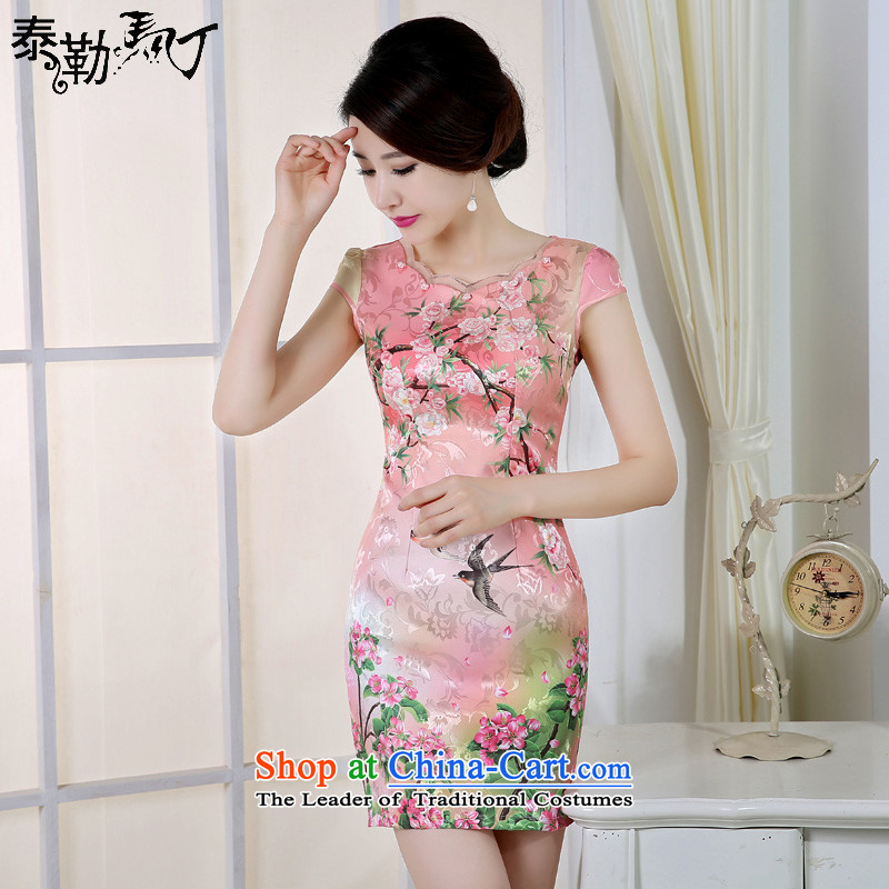 The new 2015 Martin Taylor cheongsam dress summer improved retro sexy temperament large graphics thin short of Sau San daily cheongsam pink SAIKA聽XXL