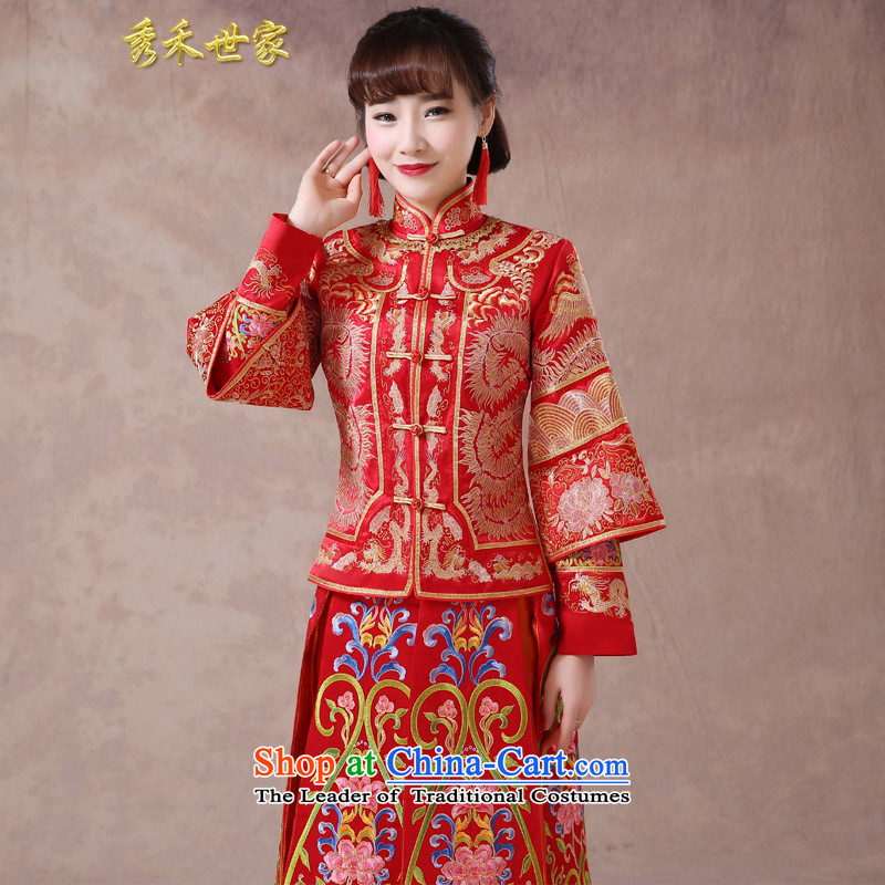 Sau Wo saga longfeng use skirt use bride bows service wedding dress red Chinese wedding retro wedding dress 2015 new summer-hi-service qipao Wo Service爏 of large red