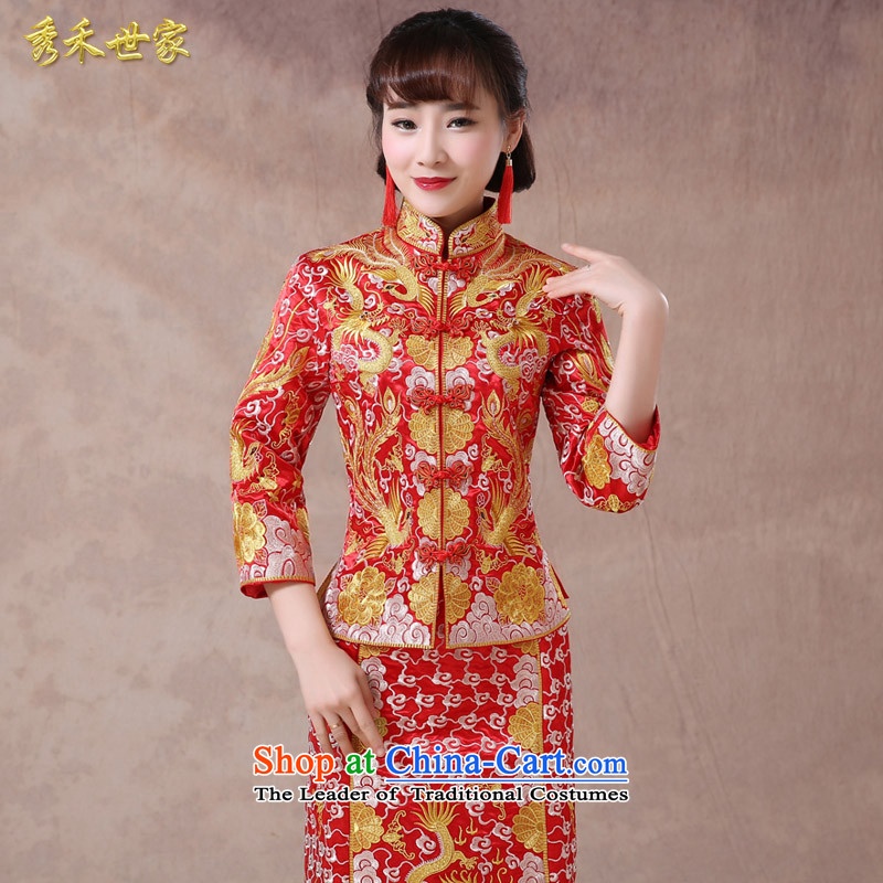 Sau Wo saga longfeng use 2015 Chinese marriages bows services spring and summer gown skirt use 5 Fook-Soo Yong-hee-service wo Sau San video large red聽M of thin