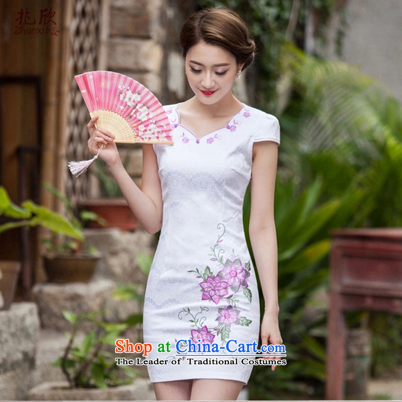 Siu Yan 2015 new cheongsam female summer short of Stylish retro dresses embroidery of the forklift truck without the square-cut dress map color?S