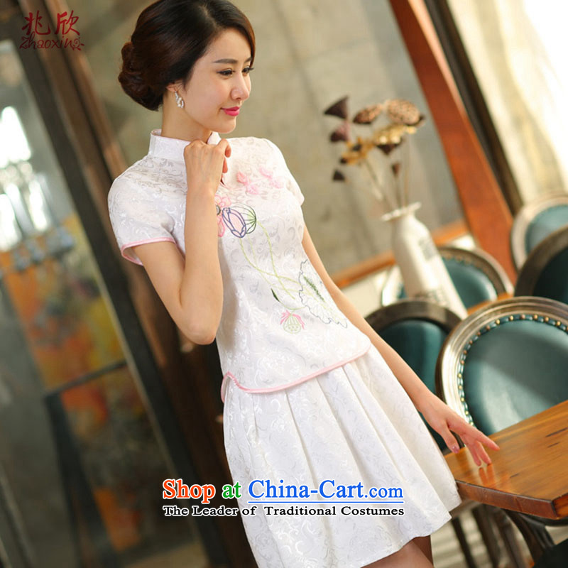 Siu Yan improved two kits cheongsam with 2015 Summer new women's daily retro stylish decoration in white gown燲L