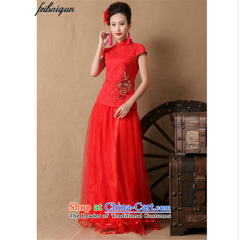 The new 2015 topology magic marriages gift qipao skirt red long bows and stylish evening dresses red燲L