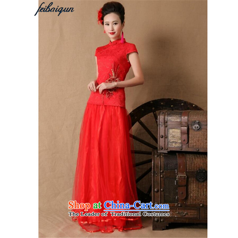 The new 2015 topology magic marriages gift qipao skirt red long bows and stylish evening dresses Red聽Devils topology (SPIRITSSOO XL,....) shopping on the Internet