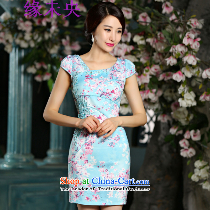Edge Yanta new summer 2015 Graphics thin cheongsam dress circle style improvement Sau San embroidery cheongsam 9022 teal燲XL