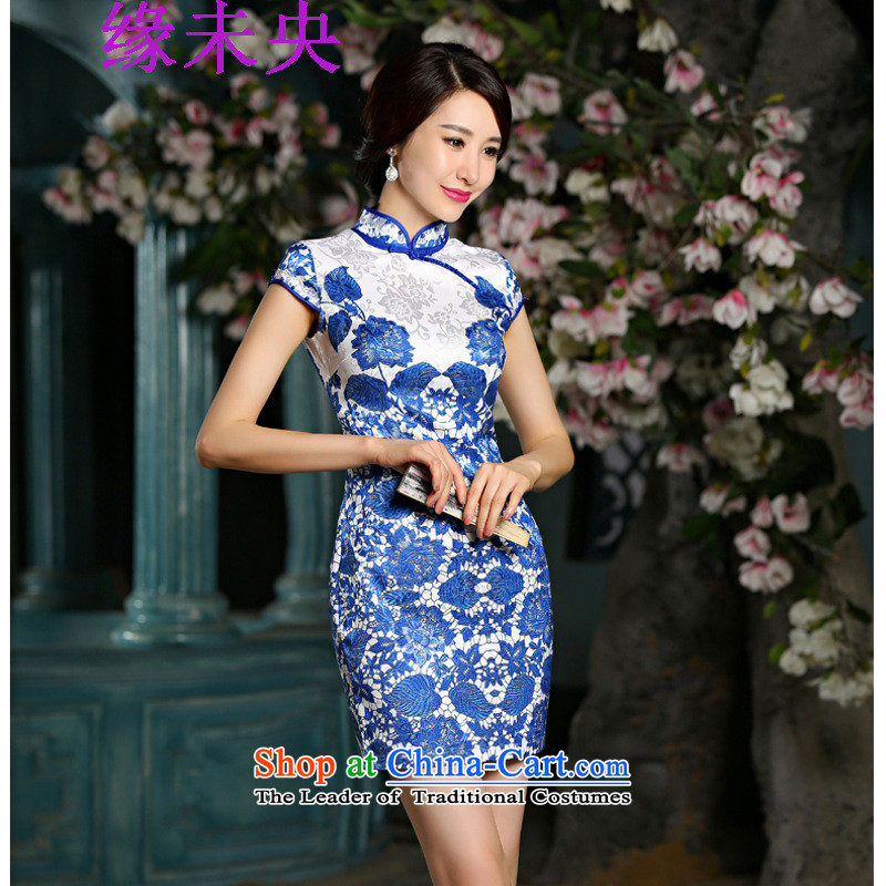 Edge Yanta 2015 new women's retro short of porcelain Sau San qipao skirt dresses 9025 Blue?L
