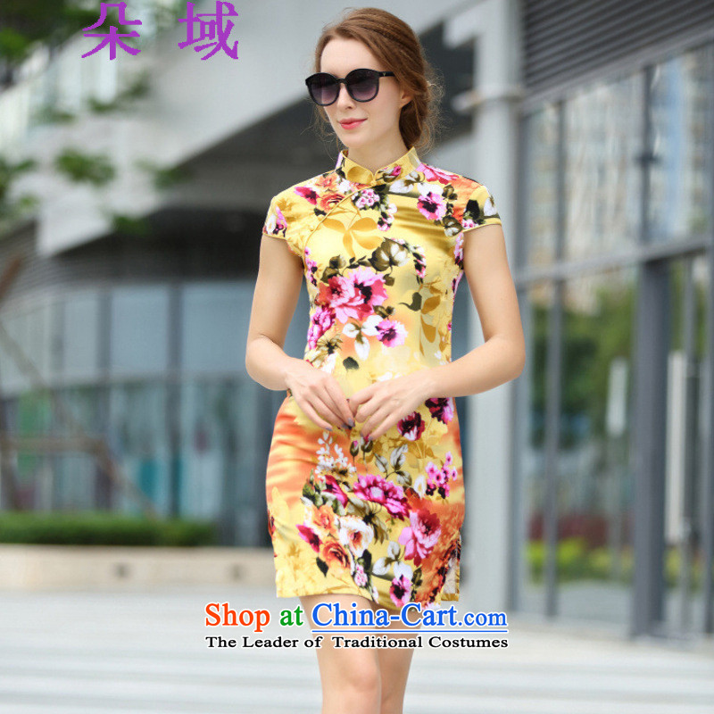 Flower domain the new Europe and the 2015 summer flowers women need to come to grips with stamp of the forklift truck Sau San cheongsam dress 1172 2XL Yellow.