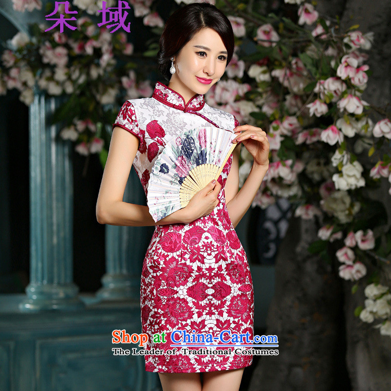 Flower domain new summer 2015 retro short of porcelain Sau San qipao skirt dresses female 9025 Red?L