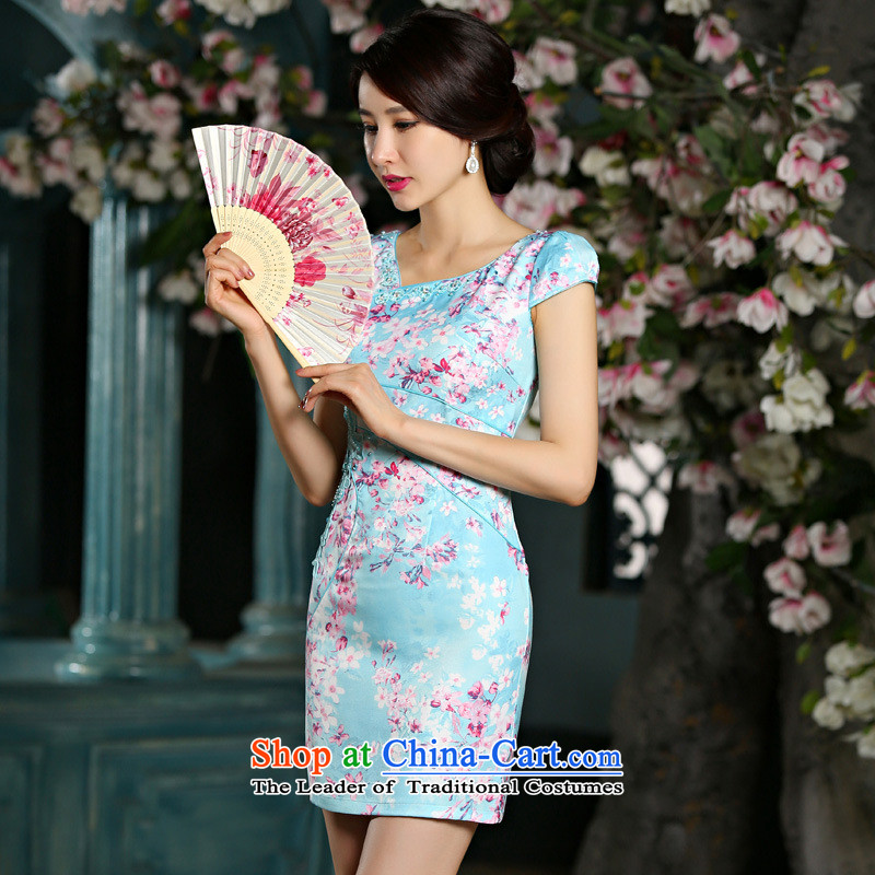 Flower domain new women's Summer 2015 Graphics thin cheongsam dress circle style improvement Sau San embroidery cheongsam 9022 Blue燤