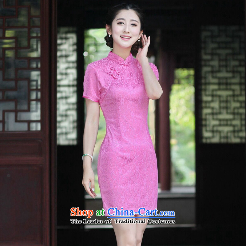 Floral female retro improved Chinese qipao gown need collar composite lace solid color arts tray clip short skirt the RED?M Cheongsam