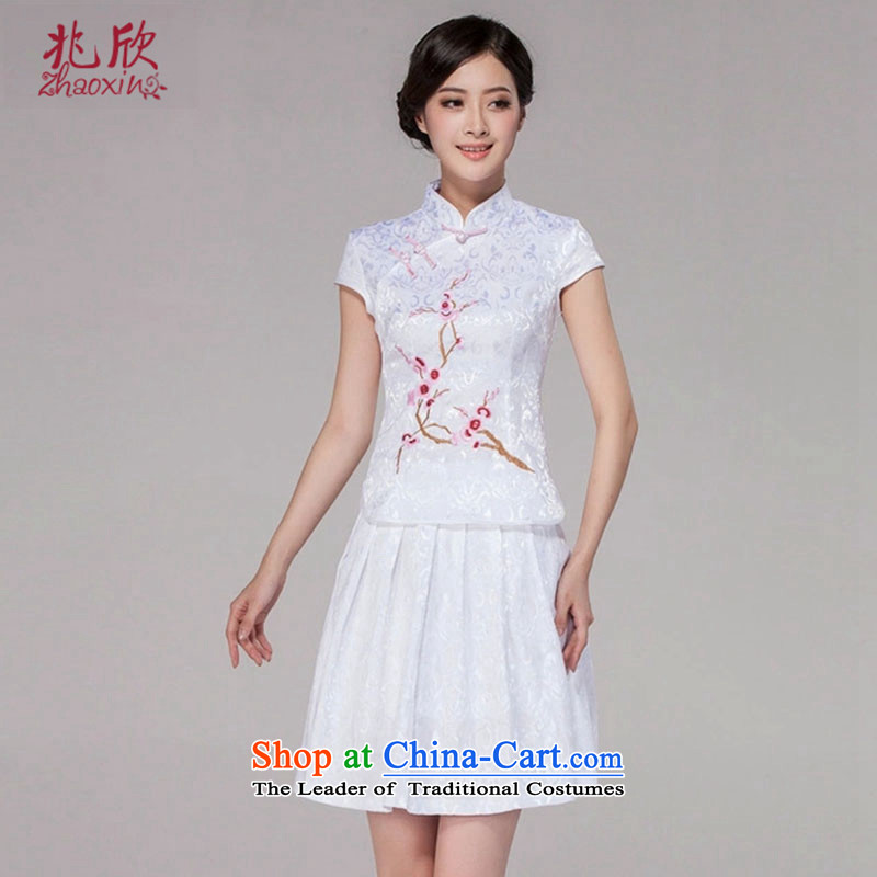 Siu Yan retro style qipao two kits for summer 2015 new everyday dress ruyi breasted dress White燲L