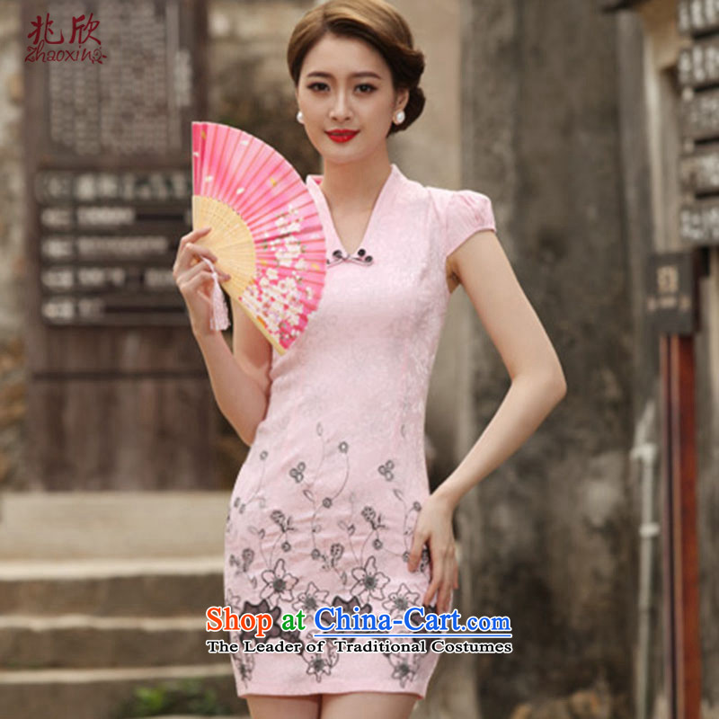 Siu Yan straight up embroidery cheongsam dress 2015 New Stylish retro short skirts summer load improved dresses female pink?S