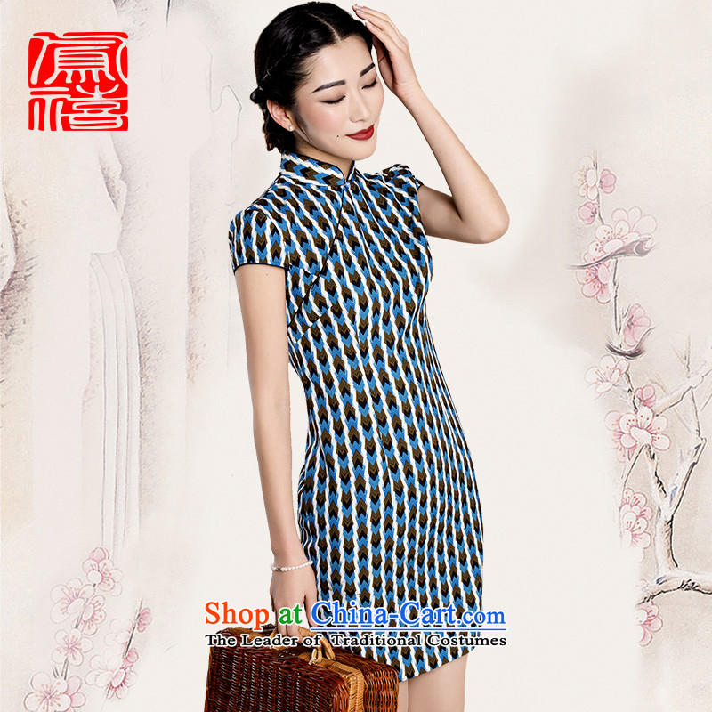Bong-hee shaoguang like a dream of爏pring and summer 15 new retro streaks short qipao improved Chinese dresses S_155 254224114 92