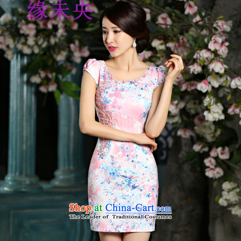 The leading edge of the YI I 2015 new summer video thin cheongsam dress circle style improvement Sau San embroidery cheongsam 9022 pink XL