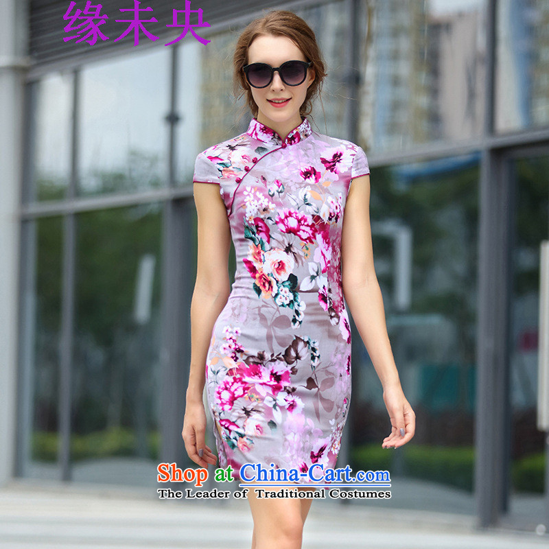The leading edge of the YI I 2015 new summer for women is pressed flowers stamp of the forklift truck qipao 1172 color pictures of the Sau San?3XL