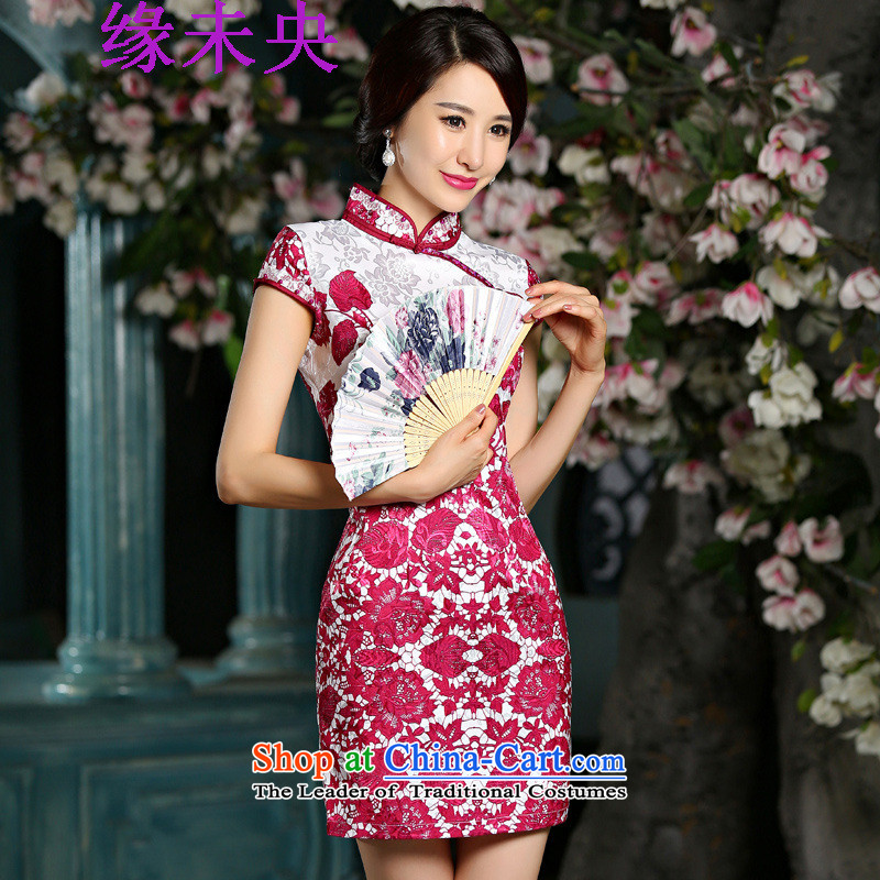 The leading edge of the YI I 2015 new women's retro short of porcelain Sau San qipao skirt dresses 9025 Red燲L