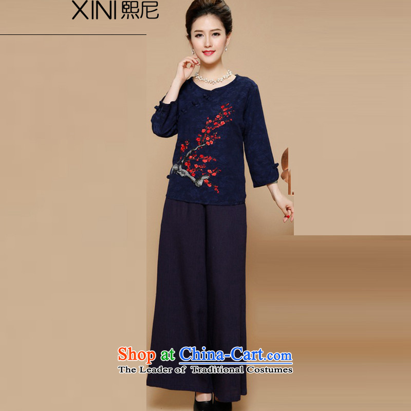 The mother with large-hee code women in spring and autumn 2015 new for women China wind improved stamp Tang Dynasty Package Women cheongsam autumn and winter Blue Kit. XXL