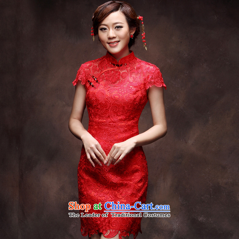 Lace retro short, bows to marry Sau San red 2015 new spring Chinese style qipao bride red燲L payment for about a week shipment