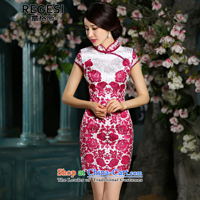 Mine Gorsch 2015 new retro short of porcelain cheongsam dress 9025 Sau San Red聽L