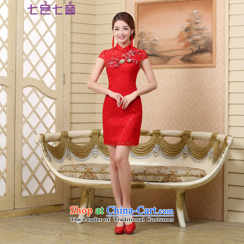 7 7 color tone?2015 Summer new marriages wedding dresses qipao services bows red crowsfoot?Q001 Sau San?red short,?XL