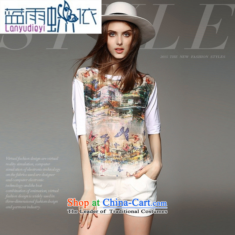 Ya-ting shop for summer new western style reminiscent of the butterfly stamp loose silk and cotton shirts version white燣