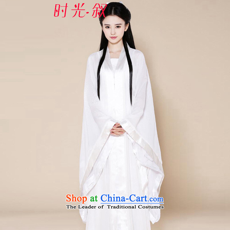 Time female white ancient Syria dragons clothing fairies skirt Han-female sexy female theatrical costume cos serving a seven-Gwi-loaded guzheng fairies Princess Assassin Swordsman L