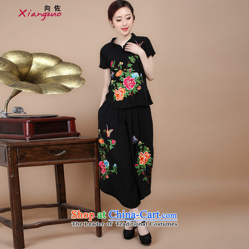 2015 Summer to Korean version of nostalgia for the Tang dynasty embroidery Sau San short-sleeved T-shirt with round collar Tang dynasty trouser press kit can sell black燲XL