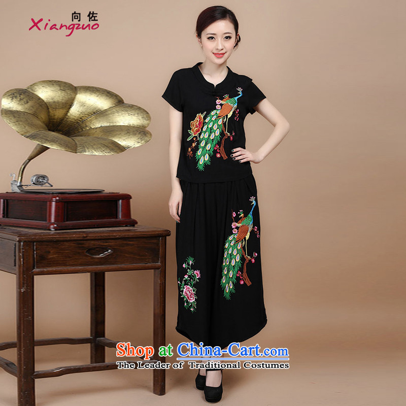 To 2015 summer as cotton embroidery decorated in Tang Dynasty V-Neck short-sleeved T-shirt, two sets of load pants can sell black燲XL
