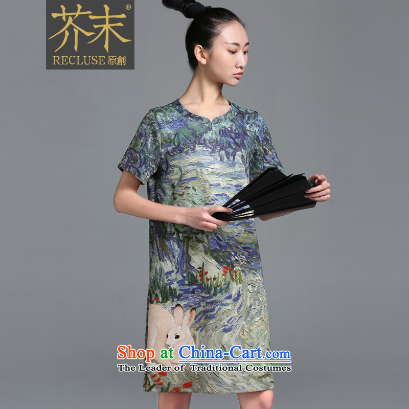 【 mustard original- Snake_China wind dress Chinese qipao new summer stamp duty improved spot?S