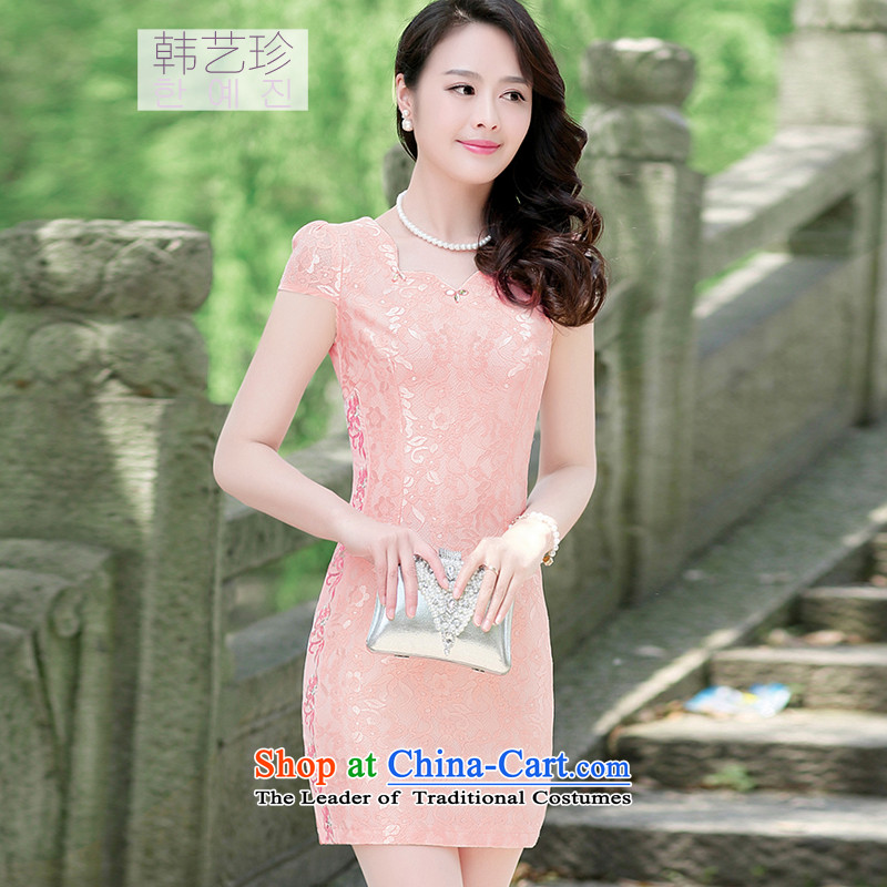 Korea Yae Jin 2015 Summer new Korean version of large numbers of ladies short-sleeved cheongsam dress short skirts, forming the basis of Sau San cheongsam pink燲XL