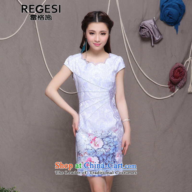 Goersch 2015 summer demining new ethnic embroidery Sau San Chinese cheongsam dress video thin stated violet燲L
