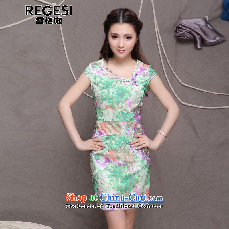 Mine. A new summer 2015, stylish and elegant qipao ethnic skirt 9905 Green?M