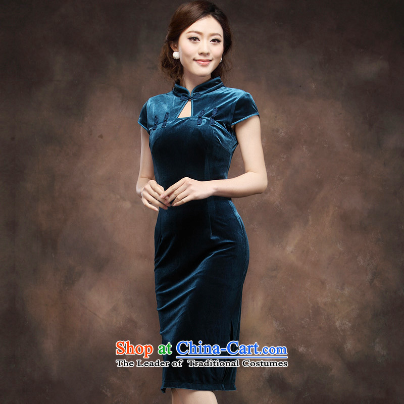 Wool qipao short-sleeved 2015 Summer new upscale larger in Sau San long aristocratic wedding dresses mother blue�L