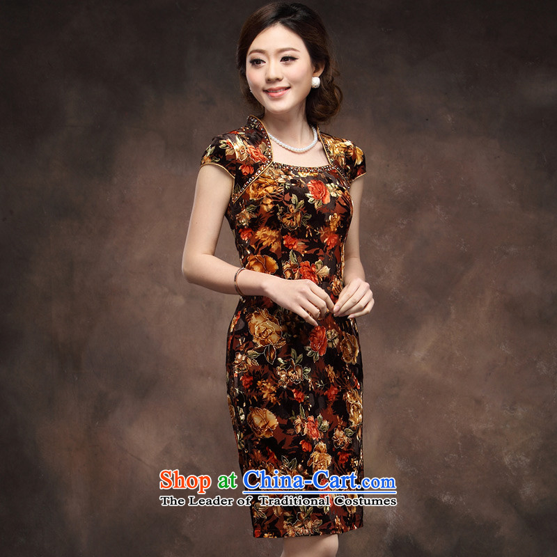 Eason Chan point scouring pads cheongsam dress short-sleeved larger flexibility in Chinese wedding mother older red orange dress skirt KIKKA燤