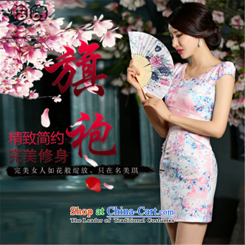 The 205 ha of pickup retro Foutune of Sau San improved embroidery cheongsam dress elegant jacquard water drilling qipao fresh floral flower small temperament dress female red燣